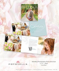 "Wedding Photography Marketing - ""Love Story""  5x5 Trifold Brochure by FOTOVELLA // Photoshop templates for pro photographers"