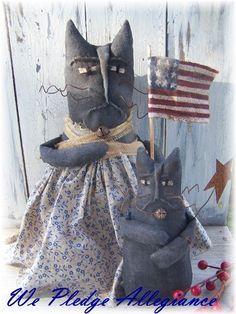 Hand Crafted Primitve Pledge Allegiance Momma by harvestmoonprims Primitive Doll, Primitive Crafts, Pledge Of Allegiance, Baby Cats, Primitives, Pavilion, Dog Cat, Rabbit, Kitty