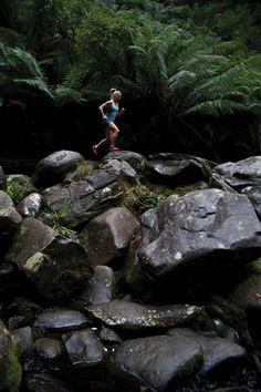 Trail running on stone.