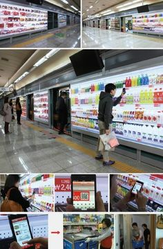 tesco homeplus opened a virtual grocery store in a south korea subway station, where users shop by scanning QR codes on their smartphones then have the products delivered to their home later that day! Street Marketing, Marketing News, Marketing Branding, Media Marketing, Innovation, Seoul Korea, North Korea, Mobile Marketing, Marketing Digital