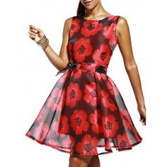 Elegant Women's Jewel Neck Sleeveless Floral Dress