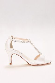 Gorgeous crystal and pearl T-straps add elegance to this dyeable satin mid-heel pair. By Touch Ups Satin upper, leather sole heel Adjustable buckle Imported Spring 2017 Wedding Dresses, T Strap Heels, Roger Vivier, Davids Bridal, Vintage Shoes, Types Of Shoes, Wedding Accessories, Wedding Shoes, Kitten Heels