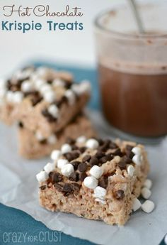 Hot Chocolate Rice Krispie Treats | http://crazyforcrust.com | #krispietreat