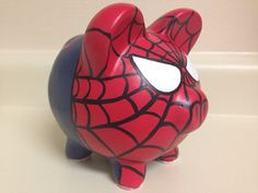 The Amazing Spider-Man Painted Ceramic Piggy Bank by KaleyCrafts