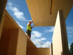 Solid cross-laminated timber panels Timber House, Timber Wood, Timber Architecture, Architecture Details, Osb Plywood, Timber Panelling, Timber Structure, House Doors, Wood Construction