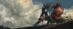 Medieval skirmish, Simon Gocal on ArtStation at https://www.artstation.com/artwork/982694