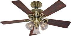 """Hunter Fan 53078 Beacon Hill Ceiling Fan, 42"""", Antique Brass"""