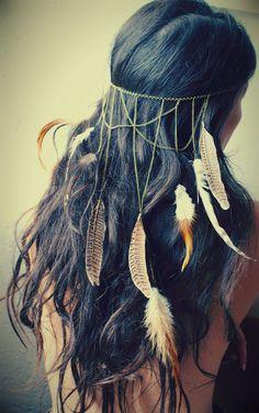 HeadBand/Bijou de tête Chainettes et Plumes : Autres bijoux par femme-sauvage