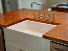Wood Countertops with Farmhouse Sink