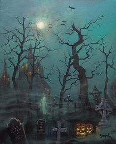 Graveyard, haunted house, ghost