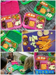 Playdate Yumbox Lunch - featuring carrots, cucumbers, hummus, crackers, lamb meatballs, clementine and grapes. Yum!