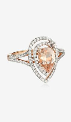 10k Rose Gold Morganite and Created White Sapphire Ring