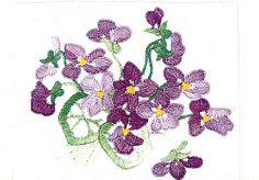 embroidered violets motif
