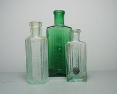 Antique Glass Poison Bottle/Green Glass by SukiandPolly on Etsy