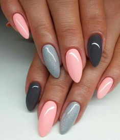 dusty rose nails with ring - Google Search