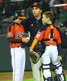 Pictured during the Little League World Series in Williamsport, Pa., Cumberland American pitcher Sean Meers, manager Dave Belisle and catcher Trey Bourque ... this Mgr. is the best motivational speaker out there