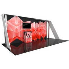 """233.38""""w x 95.63""""h x 78.75""""d aluminum extrusion frame 7 x push-fit fabric graphic panels 3 x pillowcase fabric graphics side and top 1 x counter near backwall 1 x medium monitor mount,can hold monitor 26-40""""/max weight 50 lbs 1 x SCRATE 1 x OCE case LCD monitor not included"""