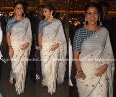 For the promotions of Sui Dhaaga, Anushka Sharma wore white handloom cotton saree paired with blue and white checkered blouse. She complemented her look with a pair of white sandals, silver jewelry and a sleek ponytail! Anushka Sharma Saree, Rekha Saree, Aishwarya Rai, Cotton Saree Blouse Designs, White Blouse Designs, White Saree Blouse, Grey Saree, Blue Saree, Dress Designs