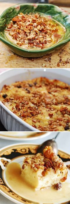 Bread pudding with white chocolate, raisins, pecans and whiskey cream sauce. Comfort food for dessert.