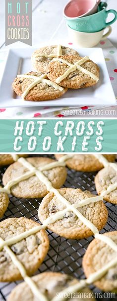 Hot Cross Cookies Recipe by Sweet2EatBaking.com | These are a Hot Cross Bun in cookie form! A clever twist on an Easter classic, this spiced and fruity cookie will become a family favourite