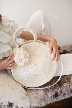 Cream woven purse