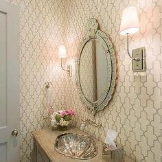 Gray Repurposed Washstand with Venetian Mirror