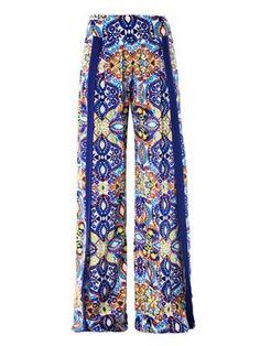 Tula lace print wide-leg trousers  Matthew Williamson Escape ...