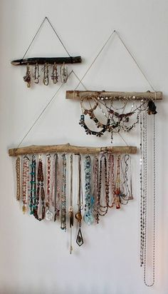 Natural driftwood turned wall mounted boho jewelry display. Combine a few to create a gallery wall jewelry organizer. Perfect boho decor. Create an jewelry holder and jewelry storage solution for your necklaces and bracelets by hanging a driftwood jewelry holder (or four) in an elegant
