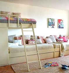15 Bedroom Interior Design Ideas For Two-Kids kids-bedroom-for-two or three Girl Room, Girls Bedroom, Bedroom Decor, Childrens Bedroom, Extra Bedroom, Trendy Bedroom, Kid Beds, Bunk Beds, Bunk Rooms