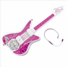 KIDdesigns, Inc Barbie  Guitar by KIDdesigns, Inc. $99.95. Drum, bass and keyboard buttons to create unique remixes on the fly. High tech touch sensitive frets with fast action easy note surface. Dancing lights pulse to the music. Includes 7 built-in songs and headset microphone. Cool guitar looks just like the real thing, with a whammy bar and fun button for instant jam action. From the Manufacturer                The Barbie Jam with me Rock Star Guitar looks and pla...