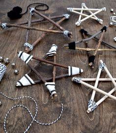 Rustic and modern twig star ornaments