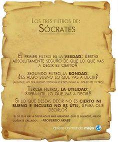 Los tres filtros de Sócrates: la verdad, la bondad, la utilidad. ¿Cuántas veces se violarán estos tres filtros cuando se entra a Facebook, Twitter y G+?