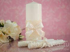 Фото. Свадебные свечи с кружевом.