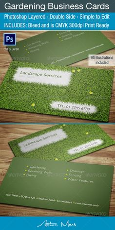 Buy Gardening Business Card by Astonmars on GraphicRiver. Multi-Purpose Gardening or Landscape Business Card using a grass theme. Details Photoshop layered – Simple to modify. Lawn Mowing Business, Lawn Care Business Cards, Cleaning Business Cards, Professional Business Cards, Landscaping Near Me, Landscaping Company, Business Card Maker, Business Card Design, Simple Garden Designs