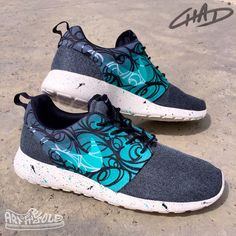 c093f07361d0 Abstract Tiffany s - Custom Hand Painted NIKE Roshe One Shoes by  ArtOfTheSole on Etsy https