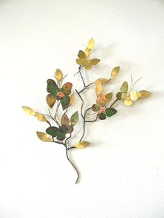 mid century  brass metal butterfly and branch wall by snugsnuggery, $65.00