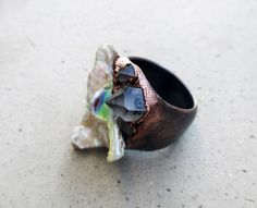 Mermaid Ring with Titanium Coral and Tibetan by SilviasCreations, $99.00