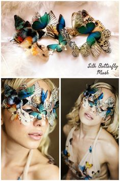 """Stunning unique Mask """"Butterflies Queen"""", Boho Chic Venice Mask Festival Mask with Silk Butterflies wings, Women Masquerade Mask, Silk Mask Butterfly Costume, Butterfly Mask, Butterfly Wings, Halloween Decorations, Halloween Costumes, Costumes With Masks, Makeup At Home, Venice Mask, Masquerade Ball"""