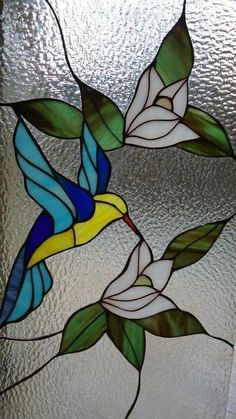 Stained Glass Hummingbird with flowers Stained Glass Suncatchers, Stained Glass Crafts, Faux Stained Glass, Stained Glass Panels, Leaded Glass, Stained Glass Patterns Free, Stained Glass Quilt, Stained Glass Flowers, Stained Glass Designs