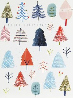christmas illustration Now we are in December Print amp; Pattern will be going full steam ahead on Christmas design. Ill be posting the various cards and wrap I ha. Christmas Design, Christmas Art, Christmas And New Year, All Things Christmas, Winter Christmas, Christmas Decorations, Christmas Tree Drawing, Christmas Tree Pattern, Christmas Watercolour Cards