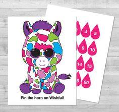 Pin the Horn on Wishful Game | Digital File | 8.5x11 Beanie Boo Game | Printable PDF