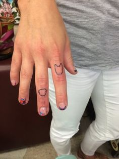 French bulldog and pug outline finger tattoos