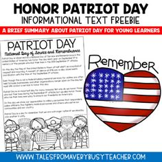This is a brief overview describing the significance of Patriot Day (September for young learners. After reading this text piece, have your students write thank you notes to community helpers in honor of Patriot Day. Patriot Day Thank You Notes Follo Patriots Day Activities, First Grade Crafts, Citing Text Evidence, Remembering September 11th, Teaching Social Studies, Teaching Resources, 2nd Grade Reading, Comprehension Activities, Community Helpers