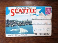1960s Greetings from Seattle Washington POSTCARD by collections4u, $18.00
