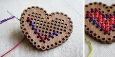Timber cross stitch heart shape