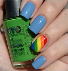 light blue (on most nails): Catrice - Up In The Air, two coats red: Essence - Hot Red orange: Essence - Andy, You're a Star yellow: Catrice - Bye, Bye Birdy! green: NYC - High Line Green blue: Barry M - Cobalt Blue purple: China Glaze - Grape Pop