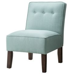Turquoise Burke Slipper Chair with Buttons