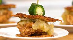 Fried Chicken Potato Pancake Sliders.