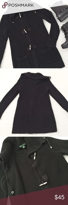 """Ralph Lauren Toggle Cardigan Ralph Lauren Toggle Cardigan Sweater in black featuring cozy plain knit stitch.  Oversized fit, perfect for cooler weather.  Pre-loved but in excellent condition.  No holes, stains or tears.    Measurements laying flat: Armpit to armpit: 17"""" Waist (across): 17"""" Total length: 29.5""""  Sleeve length: 26.5"""" Ralph Lauren Sweaters"""