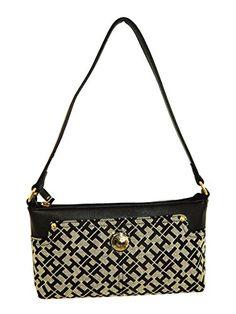 Tommy Hilfiger Top Zip Shoulder Bag Handbag Purse Black Beige Small Logo You Can Find Out More Details At The Link Of Image